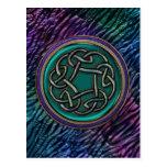 Nudo del Celtic del metal del verde de jade Postal