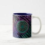 Nudo del Celtic del metal del verde de jade Tazas De Café