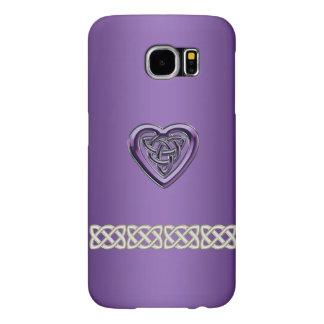 Nudo del corazón y caja célticos púrpuras de la fundas samsung galaxy s6