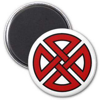 Nudo del escudo (versión céltica en rojo y negro) imán para frigorífico