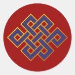 Nudo eterno del Buddhism azul de las karmas de la Pegatina Redonda