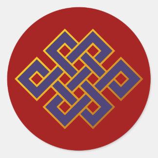 Nudo eterno del Buddhism azul de las karmas de la Etiquetas Redondas