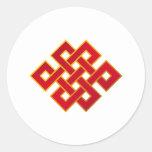 Nudo eterno del Buddhism de las karmas de la manda Pegatina Redonda