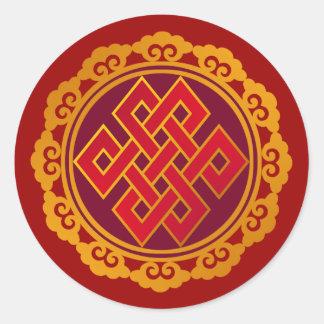 Nudo eterno del Buddhism tibetano de las karmas Pegatina Redonda