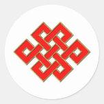 Nudo místico - rojo y oro 1 etiquetas redondas