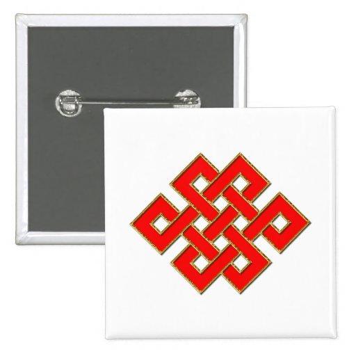 Nudo místico - rojo y oro 1 pin