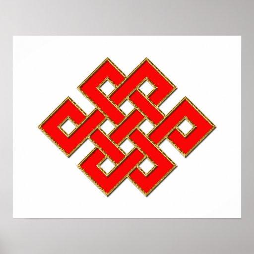 Nudo místico - rojo y oro 1 póster