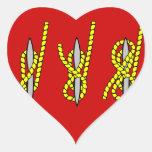 Nudo náutico pegatinas de corazon personalizadas