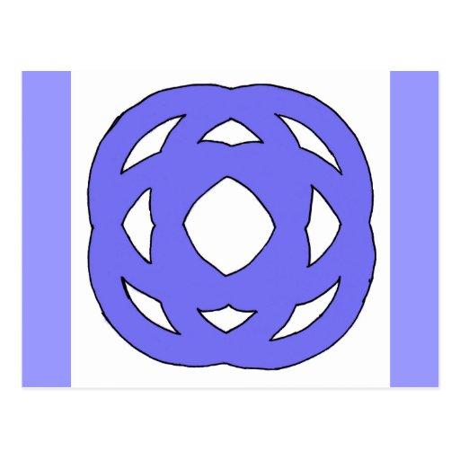 Nudo simple azul del círculo postales