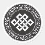 Nudo sin fin budista etiqueta redonda