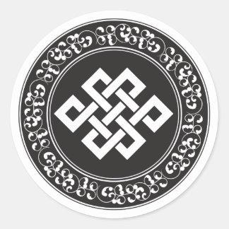 Nudo sin fin budista pegatina redonda