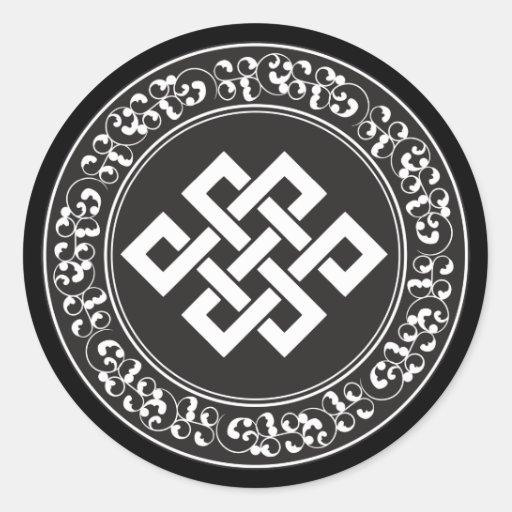 Nudo sin fin budista pegatinas redondas