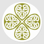 nudo verde oliva del celtic del trébol pegatinas redondas