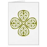 nudo verde oliva del celtic del trébol tarjetón