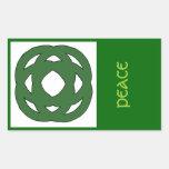Nudo verde simple del círculo pegatina rectangular