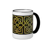 Nudos célticos de oro en negro tazas de café