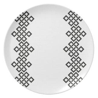 Nudos célticos del tejedor, cena/placa del fiesta platos