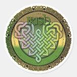 Nudos célticos irlandeses - el día de St Patrick Etiquetas Redondas