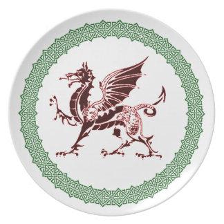Nudos célticos y dragón rojo plato de cena