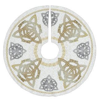 Nudos del oro y de la plata y Tri-Quatras célticos Falda Para Arbol De Navidad De Poliéster