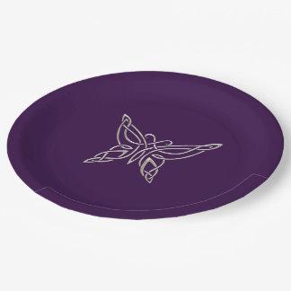Nudos que se encrespan de la mariposa céltica platos de papel