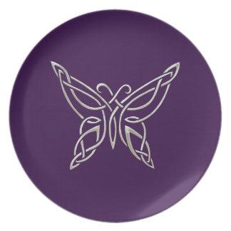 Nudos que se encrespan de la mariposa céltica platos para fiestas