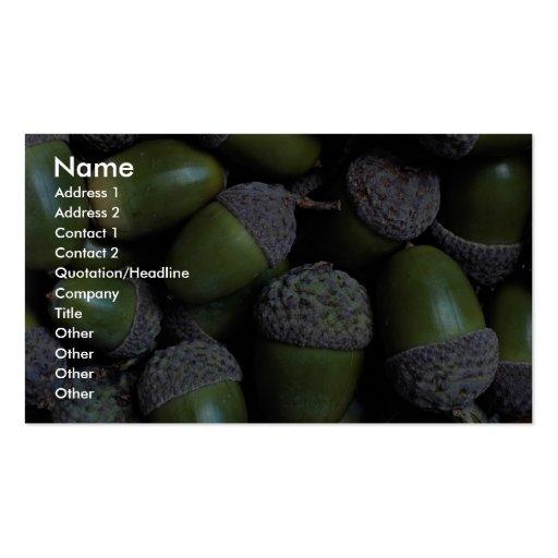 Nueces de bellota verdes tarjetas de visita