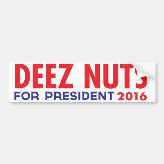 Nueces de Deez para el presidente Pegatina Para Auto