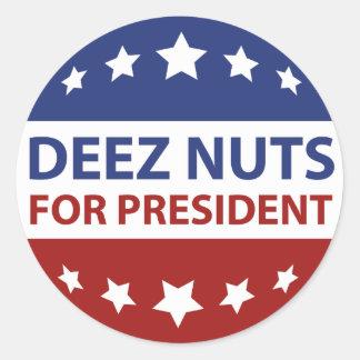 Nueces de Deez para el presidente Pegatina Redonda