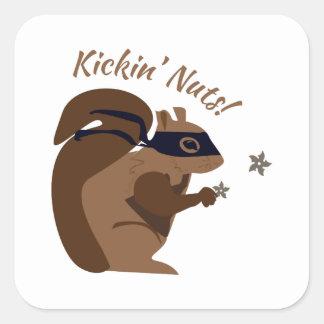 Nueces de Kickin Pegatina Cuadrada