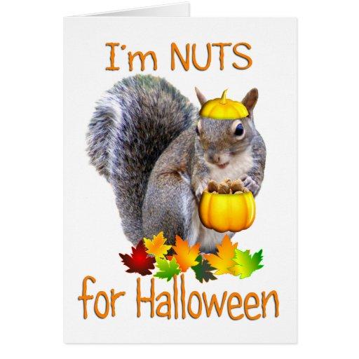 Nueces de la ardilla para Halloween Tarjetas