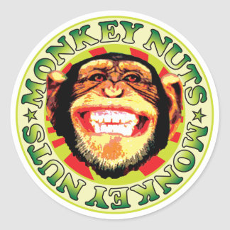 Nueces de mono pegatina redonda