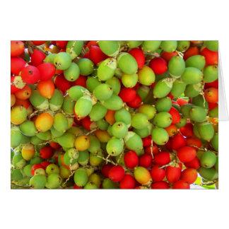 nueces de palma verde y rojo tarjeton