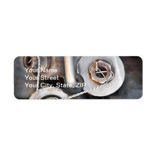 Nueces de Steampunk - y - pernos con el alambre Etiqueta De Remitente