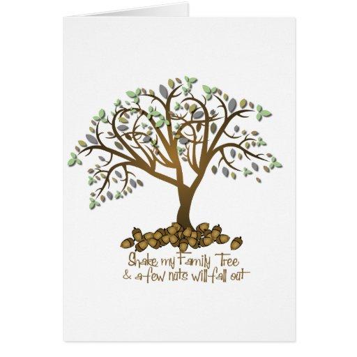 Nueces del árbol de familia felicitaciones