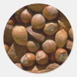 Nueces mezcladas en cáscaras pegatina redonda