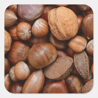 Nueces mezcladas pegatina cuadrada