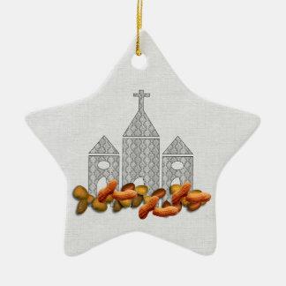 Nueces religiosas adorno de cerámica en forma de estrella