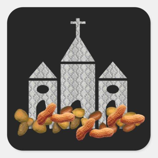 Nueces religiosas pegatina cuadrada