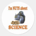Nueces sobre ciencia etiqueta redonda