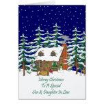 Nuera del hijo del navidad de la cabaña de madera felicitación