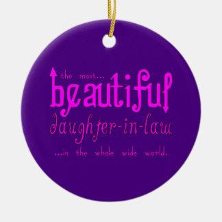 Nuera hermosa del navidad de la fiesta de adorno navideño redondo de cerámica