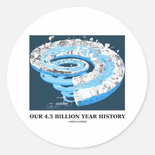 Nuestra 4,5 mil millones historias del año pegatinas redondas