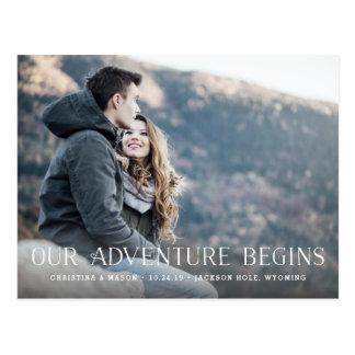 Nuestra aventura comienza reserva de la foto del | tarjetas postales