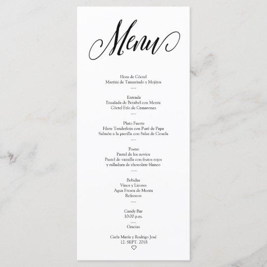 nuestra boda editable spanish menu card