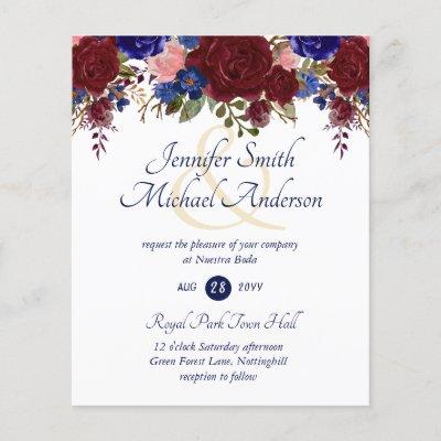 Nuestra Boda Invitacion Burgundy Blue Pink Wedding