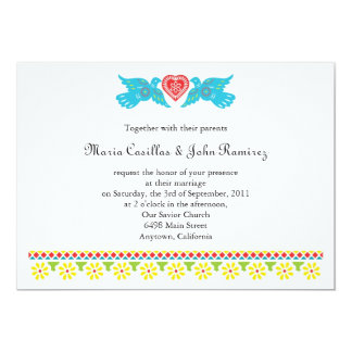 Nuestra Boda Lovebirds Papel Picado Banner 5x7 Paper Invitation Card