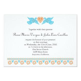 Nuestra Boda Papel Picado Love Birds Teal 5x7 Paper Invitation Card