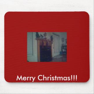 ¡nuestra chimenea vieja, Felices Navidad!!! Alfombrilla De Ratón