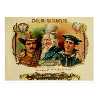 Nuestra etiqueta de la caja de cigarros de la unió tarjeta postal